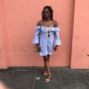 ASOS SZ M Cotton Blue Seersucker Dress